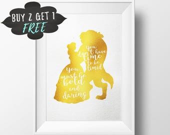 Wall Art Disney Print, Beauty And The Beast Disney Quotes, Belle Princess Disney Nursery Wall Art, Gold Textured Disney Printable Poster
