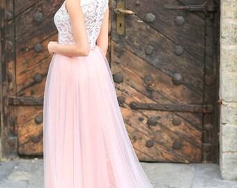 Powder pink wedding dress / Blush pink wedding gown / Corset dress / blush wedding dress