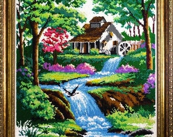 Beaded picture Water Mill landscape scenery decor gift beadwork hand-embroidered embroidery bead art interior design decoration