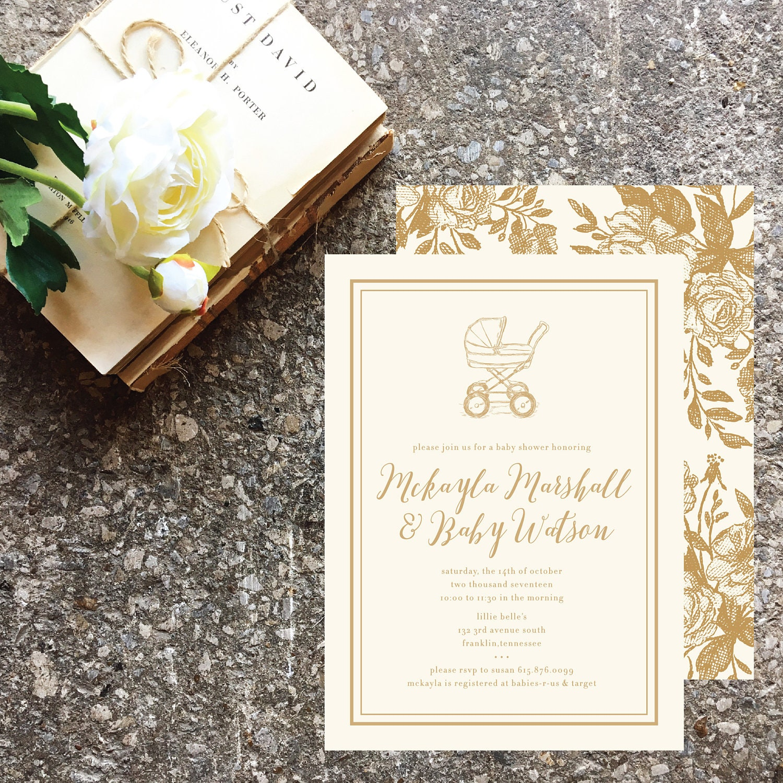 Vintage Floral Baby Shower Invite | Printable or Printed Baby Shower ...