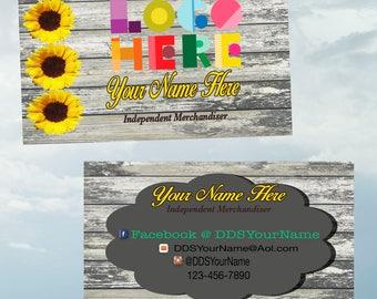 Sunflower Business Card,  Printable, Customized,  Double Sided, Digital DotDotSmile