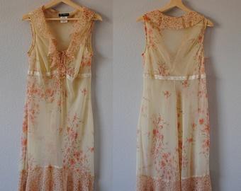 1990's Sheer Floral Maxi Slip Dress • Maxi Dress • Vintage Floral • Sheer Dress • Ruffle Dress • Chiffon Dress • Cream Dress