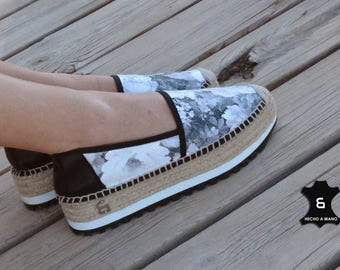 KAORI Espartena of skin and floral fabric Handmade / Leather espadrille with floral fabric