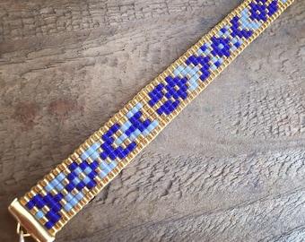 COBALT - gold plated bracelet / beads miyuki - handmade