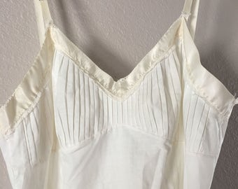 Vintage 1950s camisole slip with pin tucks in cream color.