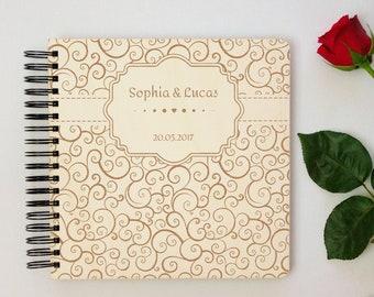 Personalized Wedding Photo Album, Elegant Photo Book, Wooden Engagement Gift For Couple, Customize Anniversary Keepsake, Family Photo Album