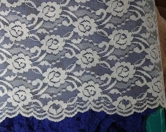 """New on bolt 7"""" Wide White/Cream/Off-White/Ivory Lace Total 18.5 Yards For Pillows or apparel."""
