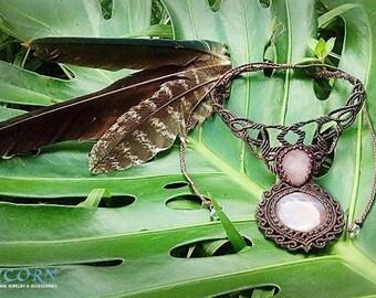 Garnet, rose quartz macrame necklace