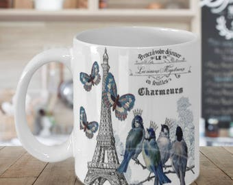 Shabby Chic Vintage Birds and Butterflies Paris mug