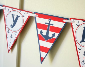 Nautical Birthday Banner - Nautical Anchors Happy Birthday Banner - Nautical Boy Birthday Party Decorations Fully Assembled