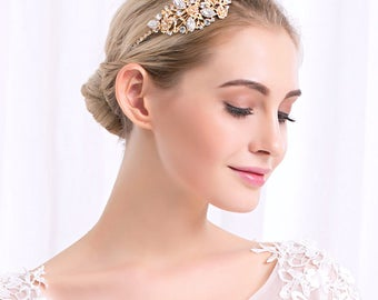 Gold crystal bridal headband