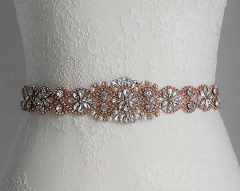 Rose gold crystal/pearl beaded bridal sash belt