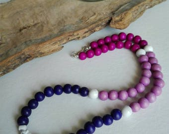 Choker necklace Orchid in coloured wood and aulite
