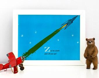 1960's Children's Alphabet Illustration Print - Z is for Zoom