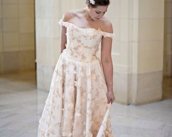 """Floral Wedding Gown - """"Romance"""" in Peach"""