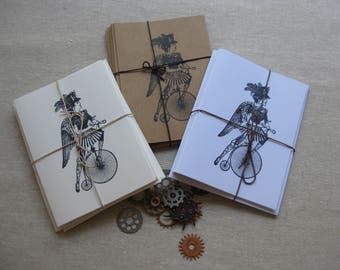 6 Handmade Steampunk Lady blank notecard set