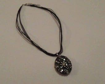 SALE Black Jeweled Locket