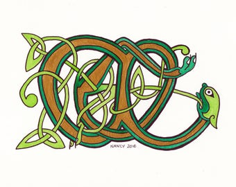 Fantastic beast, celtic style illumination original painting