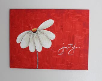 white daisy on canvas , simple and bold