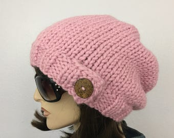 Women Chunky Knit Hat Pink Slouchy Hat with Button Womens Accessories Fall Fashion Winter Hat