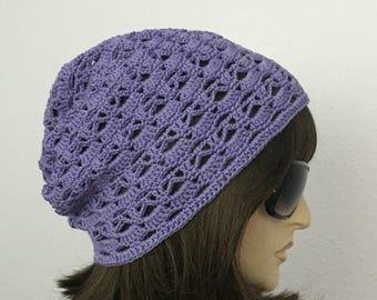 Womens Summer Crochet Hat Womens Summer Slouchy Beanie in Purple Women Spring Hat Summer Fashion