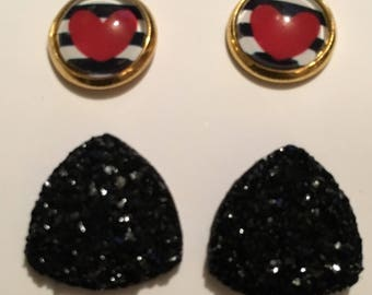 Black and White Heart Set