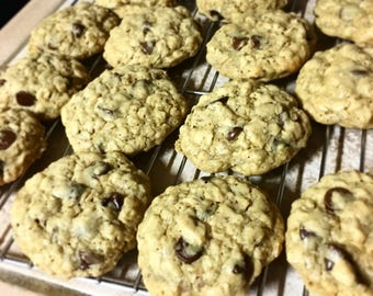 One dozen chocolate chip oatmeal lactation cookies