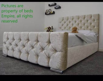 Champagne Cream Upholstered  Double Bed