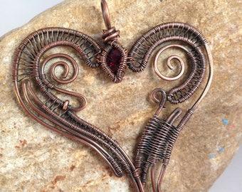 Winged Heart Garnet Pendant