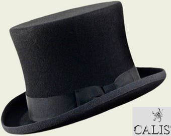 Top hat Coos black top hat cylinder Made in Italy 14 Cm. groom tight frac