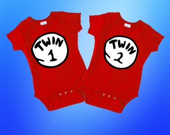 Twin 1 or Twin 2 Bodysuit,Thing One Thing Two, Matching Twins Oufits, Twin Gifts, Baby Shower Gift, Jumper Jumpsuit Sleeper, First Birthday