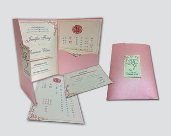 Trifold Pink Blossoms wedding Invitation Suite # A4