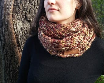 Fall-colored tube or infinity knitted scarf