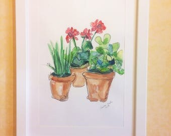 Flower pot-drawing on cardboard in mixed media on cardboard-acrylic painting and Watercolor-Painting with wooden frame