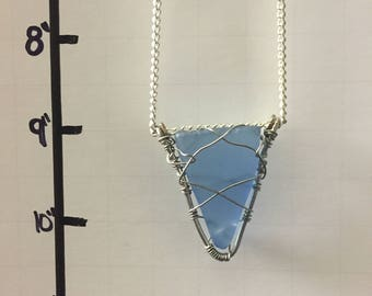 Blue Wire Wrapped Sea Glass