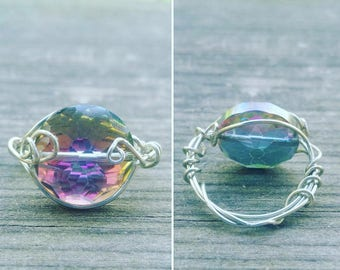 Sparkly Multi-Colored Wire Wrapped Bead Ring