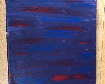 Abstract acrylic red and blue painting
