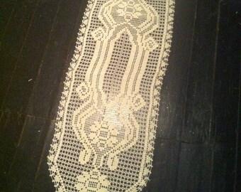 Beige Handmade Crochet Table Runner