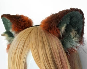 Red Fox Fur Ears Headband