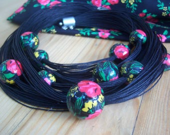 Black cord necklace, Multistrand Folk decoupage necklace, Ethnic necklace, Decoupage balls necklace, Flower necklace,