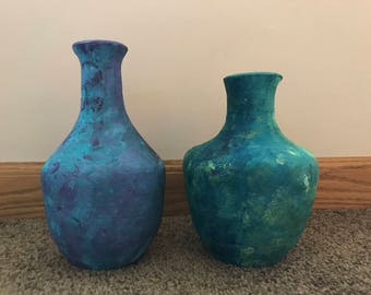 Handmade Set of Vases - Painted with Earthtones