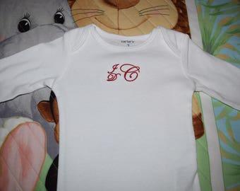 Monogrammed White Carter Baby Onesie