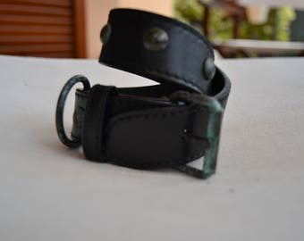 Leather dog collar, made in Italy