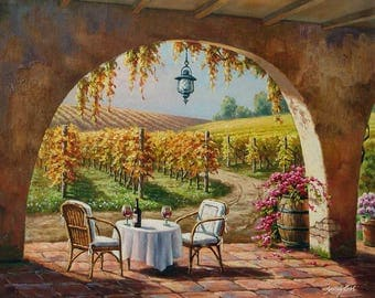 "Vineyard For Two - Traditional Oil Painting Landscape 30"" x 24"" by Sung Kim"