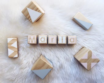 Personalised Wooden Blocks - Pink, Grey and White