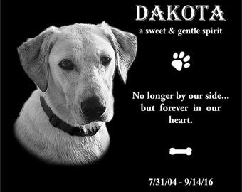 "8""x6"" Personalized Pet Headstone, tombstone Laser Engraved on the Grave Marker Granite, Pet Monument, Dog stone"