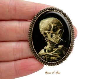 Brooch pin skull skeleton smoking a cigarette Vincent van Gogh