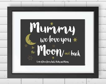 Personalised I Love You To The Moon & Back Print / Birthday / Mother's Day / Father's Day / Valentines / Gift