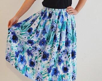 Floral skirt, vintage skirt, midi, patterned skirt, Hippie, blue, flowers, Vintage style, floral print