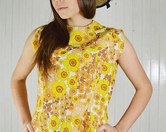 Yellow floral dress, vintage dress, floral print, yellow dress, romantic, Vintage 70s.